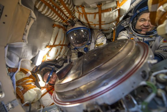 NASA astronaut Jeff Williams, left, Russian cosmonaut Alexey Ovchinin of Roscosmos, center, and Russian cosmonaut Oleg Skripochka of Roscosmos are seen inside the Soyuz TMA-20M spacecraft a few moments after they landed in a remote area near the town of Zhezkazgan, Kazakhstan on Wednesday, Sept. 7, 2016(Kazakh time). Williams, Ovchinin, and Skripochka are returning after 172 days in space where they served as members of the Expedition 47 and 48 crews onboard the International Space Station. Photo Credit: (NASA/Bill Ingalls)