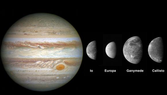 Júpiter y los satélites galileanos (ESA).