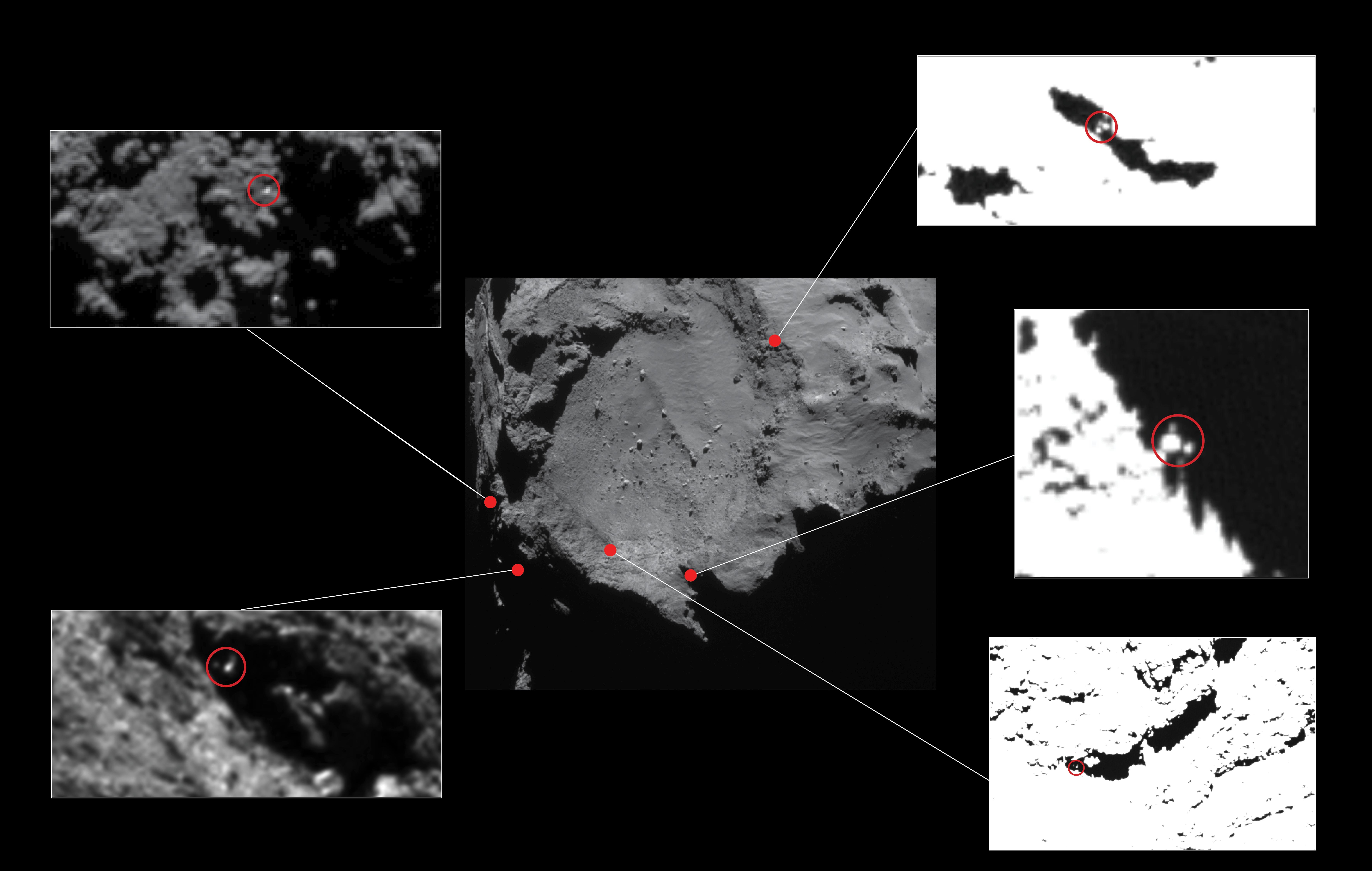 Posibles zonas de aterrizaje de Philae (ESA/Rosetta/MPS for OSIRIS Team MPS/UPD/LAM/IAA/SSO/INTA/UPM/DASP/IDA).