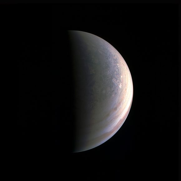 As NASA's Juno spacecraft closed in on Jupiter for its Aug. 27, 2016 pass, its view grew sharper and fine details in the north polar region became increasingly visible. The JunoCam instrument obtained this view on August 27, about two hours before closest approach, when the spacecraft was 120,000 miles (195,000 kilometers) away from the giant planet (i.e., for Jupiter's center). Unlike the equatorial region's familiar structure of belts and zones, the poles are mottled with rotating storms of various sizes, similar to giant versions of terrestrial hurricanes. Jupiter's poles have not been seen from this perspective since the Pioneer 11 spacecraft flew by the planet in 1974.(NASA/JPL-Caltech/SwRI/MSSS).