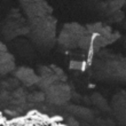 Philae en la superficie del cometa vista por la cámara OSIRIS (