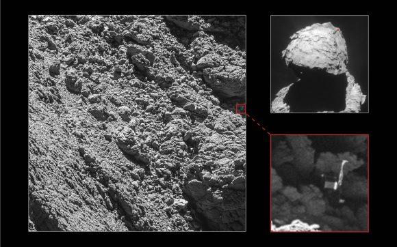 La región donde se encontraba Philae (ESA/Rosetta/MPS for OSIRIS Team MPS/UPD/LAM/IAA/SSO/INTA/UPM/DASP/IDA).