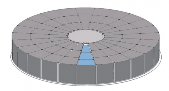 Propuesta de sistema de recogida de muestras con aerogel de forma circular. El sistema solo expondría una parte de la superficie en cada sobrevuelo para permitir mejor identificar las muestras (NASA).