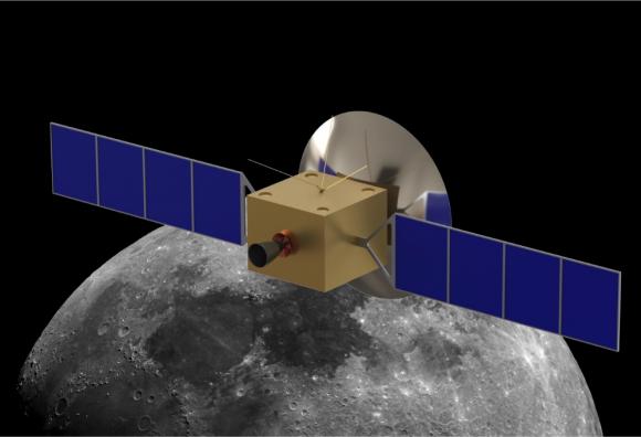 Diseño previo del satélite, sin una antena desplegable.