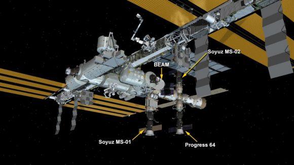 Posición de la Soyuz MS-02 en la ISS (NASA).