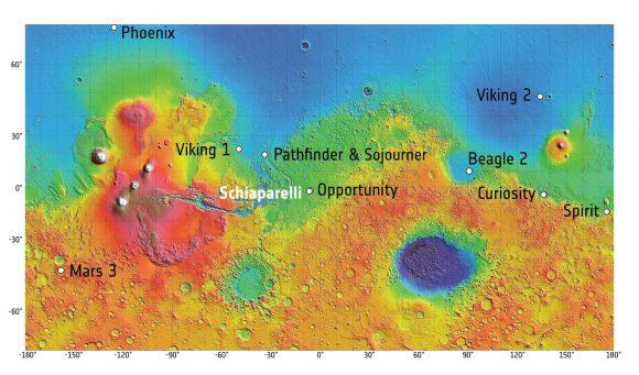 Zona de aterrizaje de Schiaparelli y otras sondas marcianas (ESA).