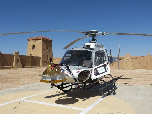 Helicóptero usado para probar el radar de Schiaparelli en Marruecos (ESA).