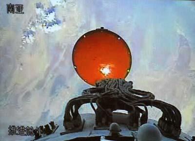 Vista del escudo térmico de la cápsula Shenzhou 7 desde el módulo de servicio.