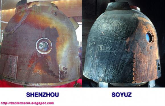 Diferencias entre el SA de una Soyuz y la cápsula Shenzhou.
