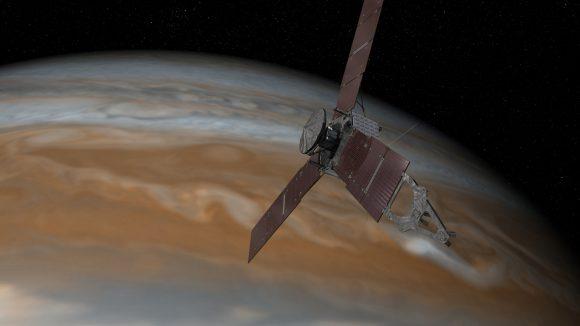 La sonda Juno alrededor de Júpiter (NASA).