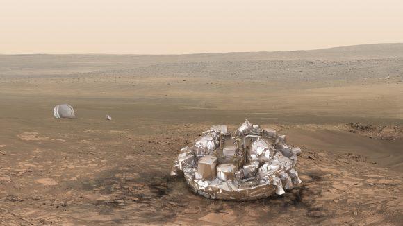 Schiaparelli en Marte (ESA).