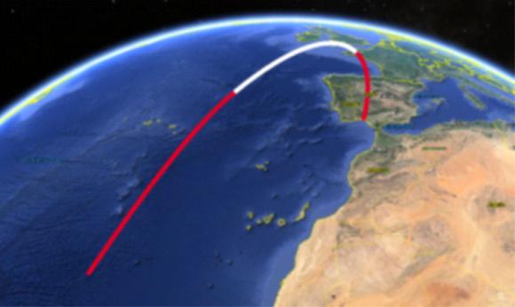 Trayectoria de un lanzamiento orbital del Arion 2 lanzado desde El Arenosillo (Huelva).