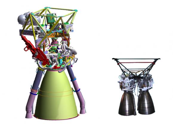 Los motores criogénicos chinos: el YF-77 (izquierda) y el YF-75.