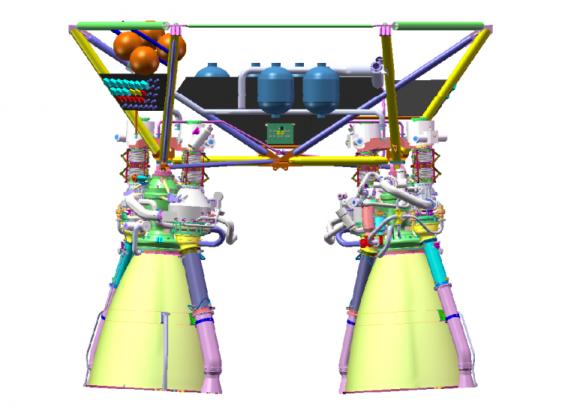 Motores criogénicos YF-77 de la primera etapa.