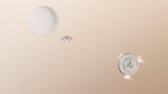 Schiaparelli en el momento de la separación del paracaídas y encendido de los motores (ESA).