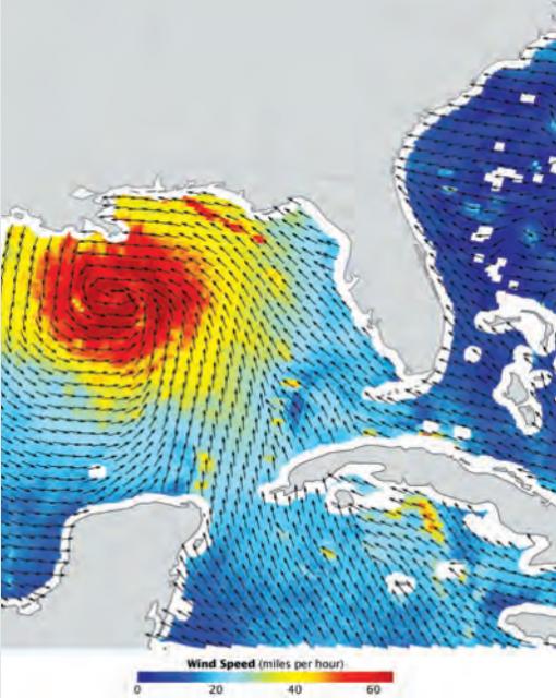 Medida del viento de la zona del huracán Katrina gracias al satélite QuickSCAT (NASA).