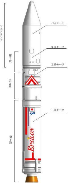 Cohete Epsilon 2 de esta misión (Enhanced Epsilon) (JAXA).