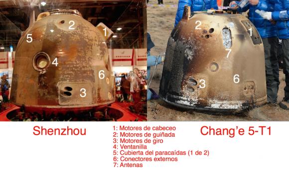 Diferencias entre una cápsula Shenzhou y la cápsula de la CHang'e 5-T1.