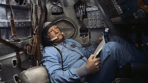 Volk durante el entrenamiento en un simulador de la Soyuz.