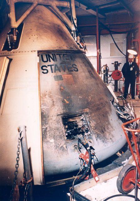 Exterior del Apolo 1 tras el incendio (NASA).
