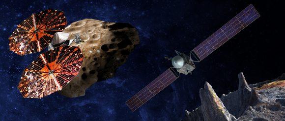 Las nuevas sondas de la NASA: Lucy (izquierda) y Psyche (NASA).