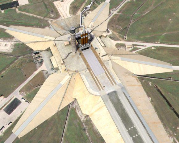 Una imagen que nunca se hizo realidad: la rampa 39A modificada para misiones tripuladas con el Delta IV Heavy de ULA (NASA).