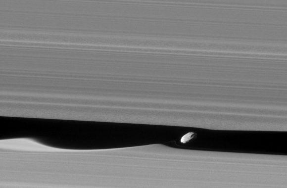 La luna Daphnis en la división de Keeler vista el 16 de enero a 28.000 km de distancia (NASA/JPL-Caltech/Space Science Institute).