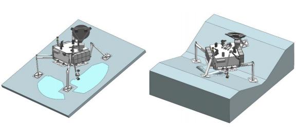 El tren de aterrizaje se adaptará al terreno (NASA).