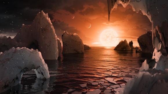 Recreación de la superficie de uno de los planetas de TRAPPIST-1 (NASA/JPL-Caltech).