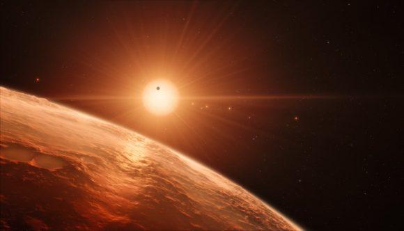 El sistema TRAPPIST-1 visto desde uno de sus planetas (ESO/D. Furtak).
