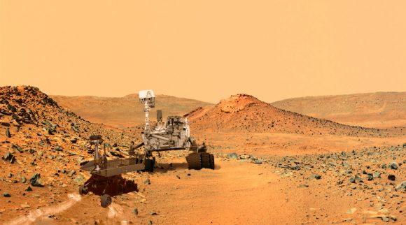El rover Mars 2020 visita a Spirit. Es posible que esta imagen se haga realidad si finalmente las colinas Columbia son elegidas como el lugar de aterrizaje de esta misión (NASA).