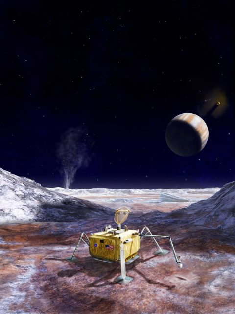 Concepto de misión Europa Lander para buscar vida en Europa (NASA).