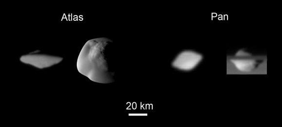 Esta es la mejor vista que teníamos hasta ahora de Atlas y Pan, las dos lunas con discos de Saturno (NASA/JPL).