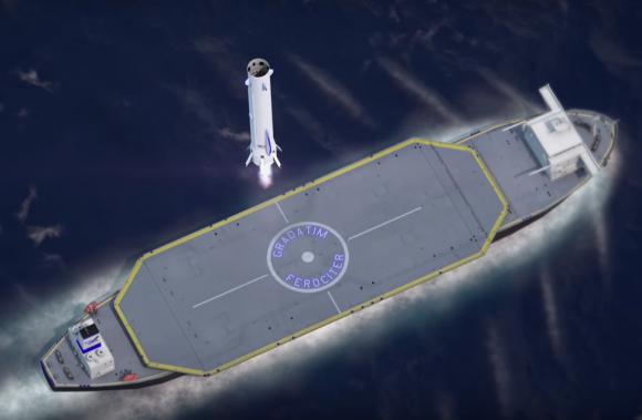 La primera etapa del New Glenn aterrizando sobre un barco en alta mar (Blue Origin).