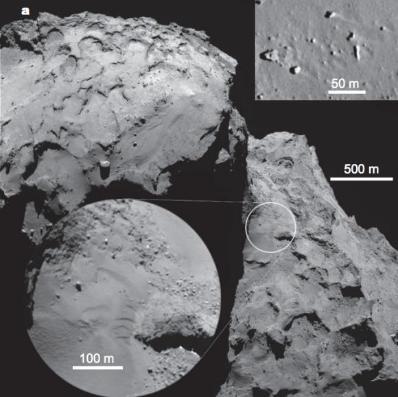 Dunas de la región de Hapi (ESA/Rosetta/MPS for OSIRIS Team MPS/UPD/LAM/IAA/SSO/INTA/UPM/DASP/IDA).