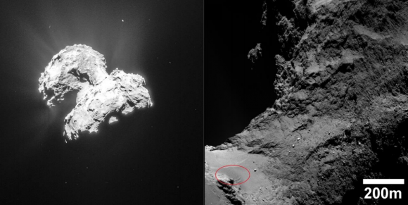 Dunas en la región de Hapi del cometa 67P (dentro del círculo rojo (ESA/Rosetta/MPS for OSIRIS Team MPS/UPD/LAM/IAA/SSO/INTA/UPM/DASP/IDA).
