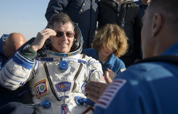 NASA astronaut Shane Kimbrough rests in a chair outside the Soyuz MS-02 spacecraft just minutes after he, Russian cosmonaut Sergey Ryzhikov of Roscosmos, and Russian cosmonaut Andrey Borisenko of Roscosmos landed in a remote area near the town of Zhezkazgan, Kazakhstan on Monday, April 10, 2017 (Kazakh time). Kimbrough, Ryzhikov, and Borisenko are returning after 173 days in space where they served as members of the Expedition 49 and 50 crews onboard the International Space Station. Photo Credit: (NASA/Bill Ingalls)