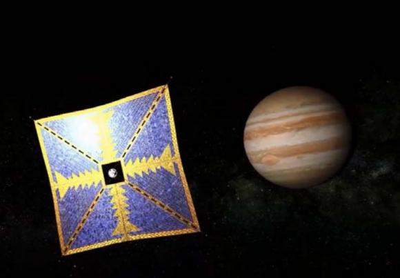 Una vela solar japonesa que pasaría por Júpiter camino de un asteroide troyano (JAXA).