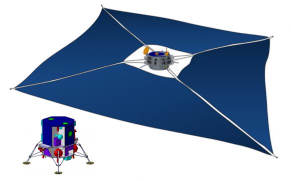 La vela solar y el aterrizador de 100 kg para recogida de muestras (JAXA).