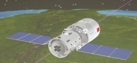 Vista del módulo de propulsión del Tianzhou.