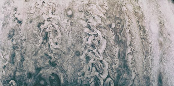 Imagen 'artística' de las turbulencias atmosféricas de Júpiter (NASA/JPL-Caltech/SwRI/MSSS/Uriel).