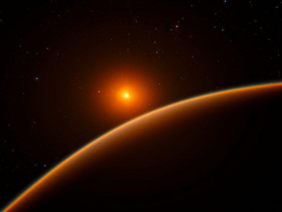 Impresión artística (muy sobria para lo que nos tienen acostumbrados últimamente) de LHS 1140b y su estrella (ESO/spaceengine.org).