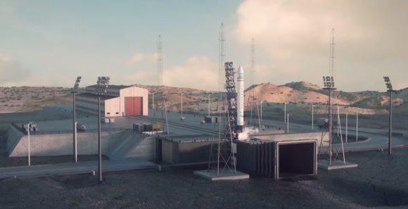 El Tronador II en la rampa de lanzamiento de Puerto Belgrano ().