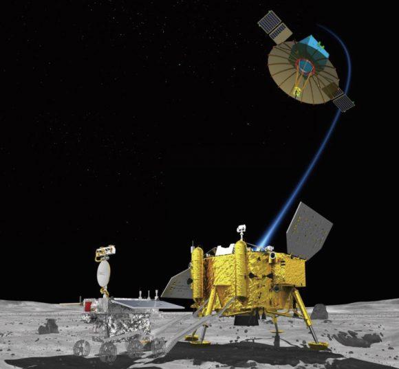 La sonda lunar Chang'e 4 y el satélite retransmisor que usará para las comunicaciones (chinaspaeceflight.com).