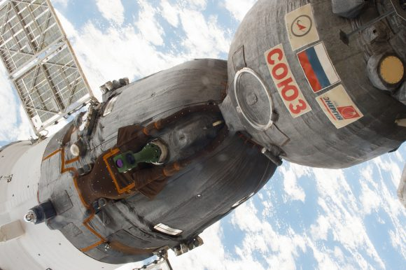 La Soyuz MS-03 acoplada a la ISS (ESA).
