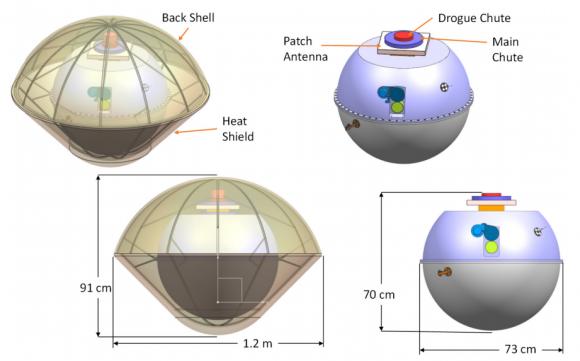 Dimensions de la sonda atmosférica (NASA).