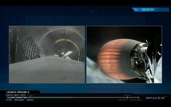 Aterrizaje de la primera etapa en la brarcaza (SpaceX).