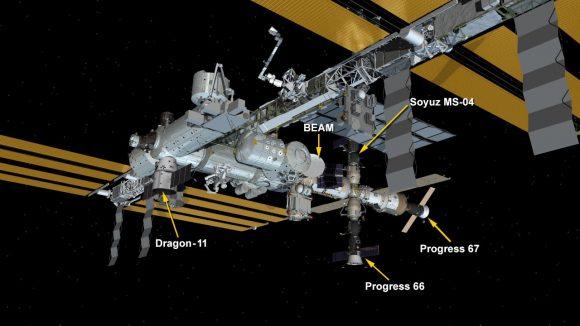 Situación de la Progress MS-06 (Progress 67 para la NASA) en la ISS (NASA).