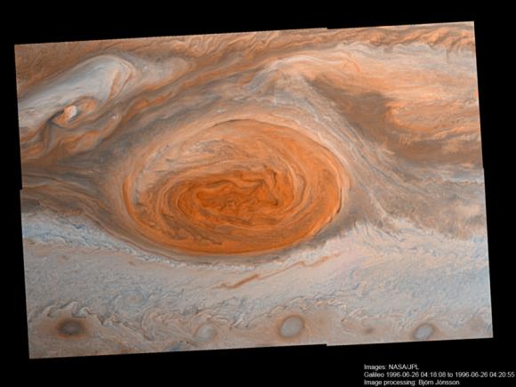 La GRS vista por la sonda Galileo en 1996 (NASA/JPL-Caltech/Björn Jónsson).