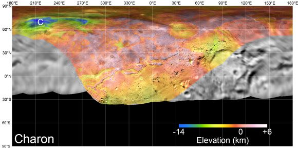 Mapa de las elevaciones superficiales de Caronte ( NASA/Johns Hopkins University Applied Physics Laboratory/Southwest Research Institute/Lunar and Planetary Institute).